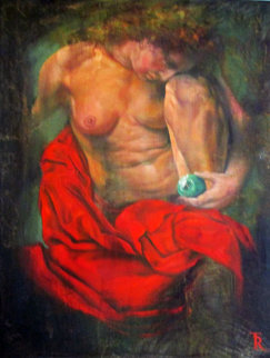 Women In Red 1997 58x37 Original Painting - Tomasz Rut