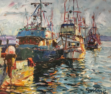 Fishing Boats 1978 17x20 Original Painting - Marco Sassone
