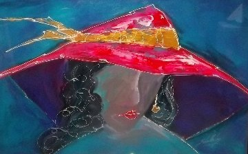 Lady With Hat 1996 40x60 Original Painting - Roy Schallenberg
