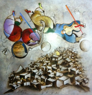 Music Over Jerusalem 2005 75x74 Original Painting - David Schluss