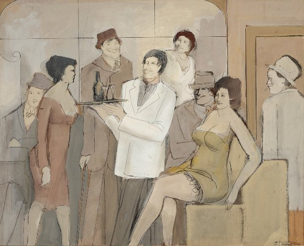 Cocktail Party, Group of Men And Women 23x26