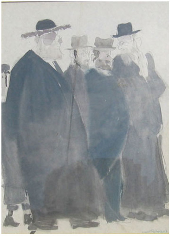 Untitled (Five Jewish Gentlemen) Watercolor 30x16