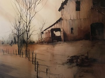 Barn Watercolor 1973 31x39 Watercolor - Michael Schofield