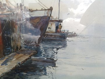 Maine Harbour Watercolor  36x46  - Michael Schofield