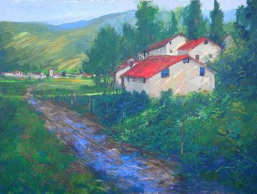 Country Road in Tuscany 2007 30x40 Original Painting - Michael Schofield