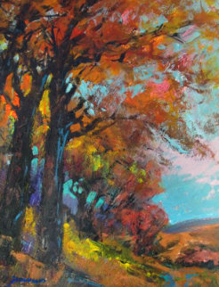 Blue Autumn Skies 27x23 Original Painting - Michael Schofield