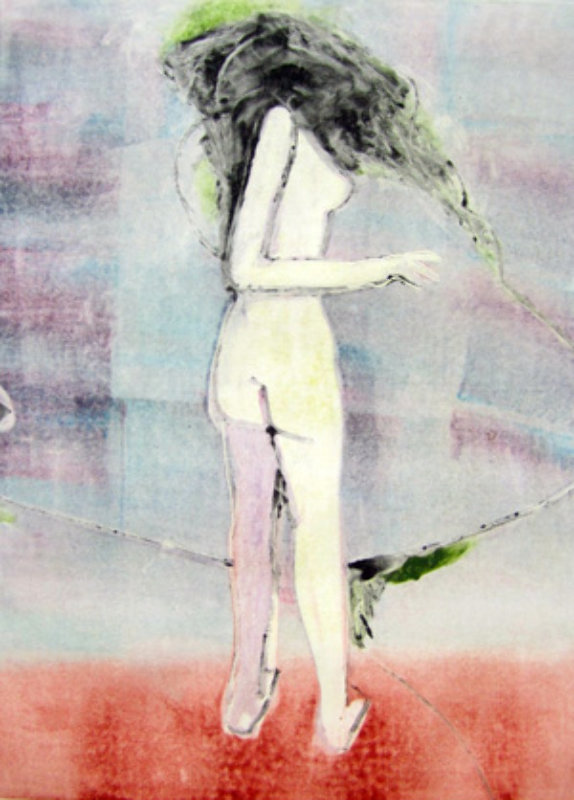 Mystery Woman 2 (Standing Nude) Monotype 1990 30x22