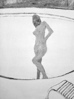 Mystery Woman in Pool Monotype 1987 30x22 Works on Paper (not prints) - Fritz Scholder