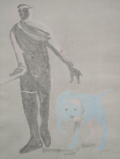 Man and Dog Monotype 1992 41x30 Works on Paper (not prints) - Fritz Scholder