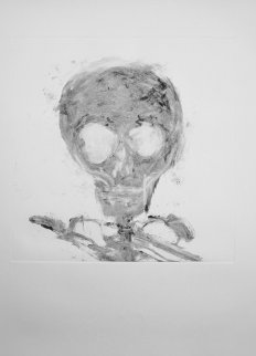 Skull Monotype 1989 30x22 Works on Paper (not prints) - Fritz Scholder