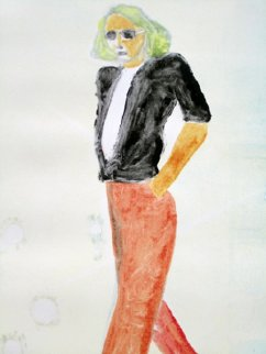 Walking Series Monotype 1990 30x22 Works on Paper (not prints) - Fritz Scholder
