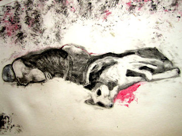 Massacred Indian With Dog Monotype 1993 30x41 Works on Paper (not prints) - Fritz Scholder