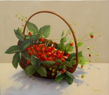 Strawberry Basket 2010 27x31 Original Painting - Heinz Scholnhammer