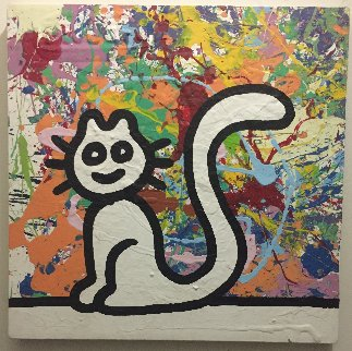 My Colorful Cat 2007 19x19 Original Painting - Richard Scott