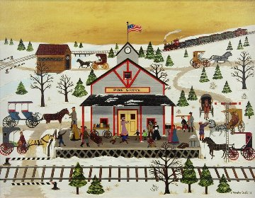Pine Grove Station 1975 25x31 Original Painting - Jane Wooster Scott
