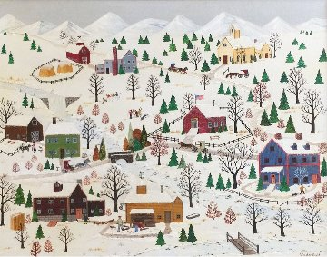 Winter Village 34x28 (Early) Sun Valley Id - Old Baldy Original Painting - Jane Wooster Scott