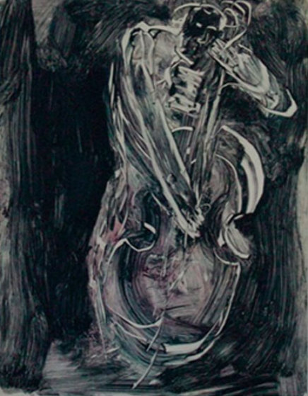 Thumping the Bass Fiddle Monotype 2008 30x22