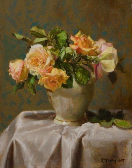 Lennox Vase With Roses 2017 18x14 By Robert Semans