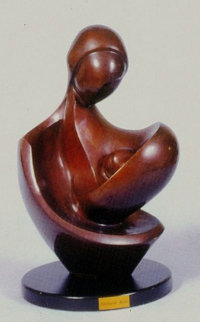 Newborn in Motherís Lap Bronze Sculpture 1995 14 in Sculpture - Moshe Sendowski