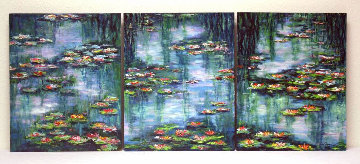 Giverny Revisited (Waterlily Pond Triptych) 2008 20x48 Original Painting - Jane Seymour