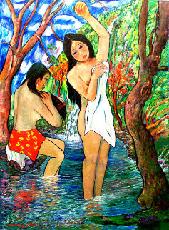Two Bathers By Stream 1985 72x50 Original Painting - Manor  Shadian