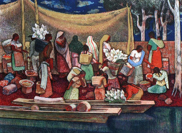 Mexican Flower Sellers 1971 Limited Edition Print - Millard Sheets