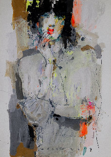 Lady 7 2019  27x19 Original Painting - Victor Sheleg