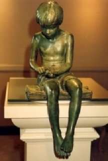 Boy And Frog Bronze Sculpture 2011 18 in Sculpture - Adolf Sehring