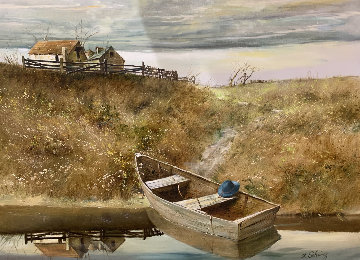 The Rowboat 1980 38x48 Original Painting - Adolf Sehring