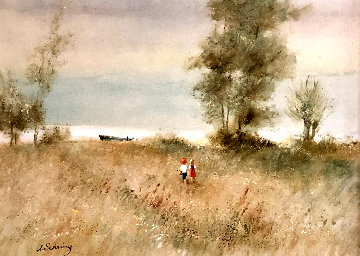 Two Children and Boat 1970 32x44 Original Painting - Adolf Sehring