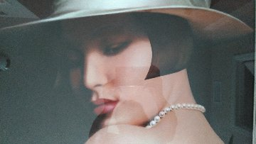 White Hat And Pearls 39x31 Original Painting - Alexander Sheversky