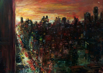 Untitled Cityscape 30x40 Original Painting - Stephen Shortridge