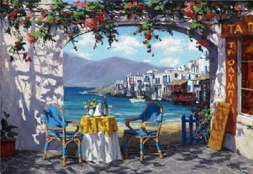 Meeting in Mykonos 2010 Embellished  Limited Edition Print - Viktor Shvaiko