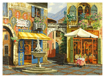 Fountain in the Square / Rendezvous in Venice Embellished Set 2 Limited Edition Print - Viktor Shvaiko