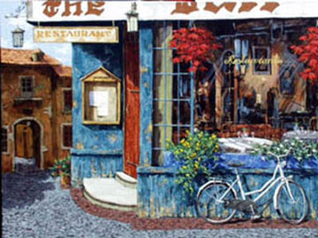 Mary's Cafe 48x36 Original Painting - Viktor Shvaiko
