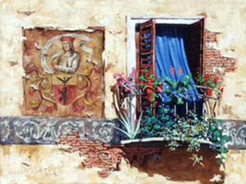 Blue Curtain 32x24 Original Painting - Viktor Shvaiko