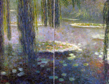 In the Shadow of Water Lilies Diptych 2000 36x48 Original Painting - Greg Singley