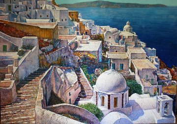 Santorini, Greece 1991 72x96 Original Painting - Jaro Slavko