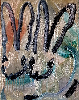 Untitled Rabbits 2014 24x20 Original Painting - Hunt Slonem