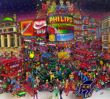 Piccadilly Circus 3-D 1998 14x19 London Original Painting - Susannah MacDonald