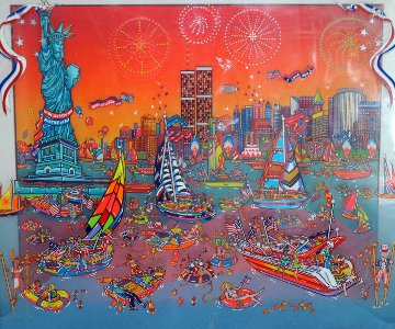 Fourth of July in the Harbor 3-D 1998 17x22  Original Painting - Susannah MacDonald
