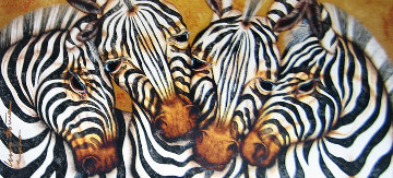 Captivating Harmony, Zebra 2005 33x55 Original Painting - Luis Sottil