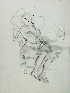 Seated Nude Drawing 1950 18x24 Drawing - Raphael Soyer