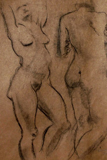 Double Sided Drawing of Nudes 1930 30x25 Drawing - Raphael Soyer