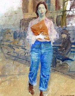 Woman on Street 25x20 Original Painting - Raphael Soyer