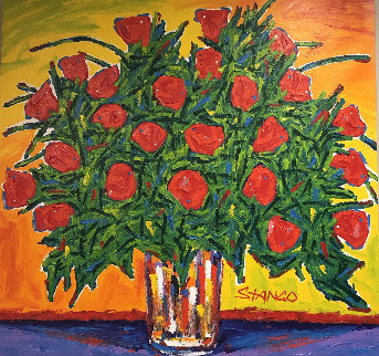 Bouquet of Red Roses 2008 42x40 Original Painting - John Stango