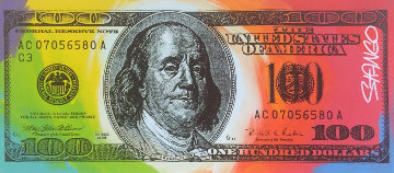 Benjamin Franklin 100 Dollar Bill 18x41 Original Painting - John Stango