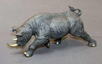 Black Rhinoceros Bronze Sculpture 2016 17 in Sculpture - Barry Stein
