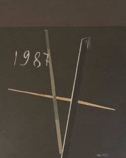 Composition 1987 31x35 Original Painting - Eduard Steinberg
