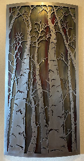 Aspen Trees Metal Unique  Relief Wall Sculpture 2018 56x28  Sculpture - BenJamin Stielow